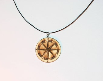 Wood necklace antique compass Lasercut look adventures