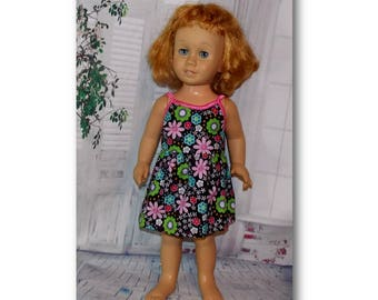 """Vintage Chatty Cathy doll not included. Pink flower Sundress with Snaps.  Clothes to fit 20"""" Tall vintage talking dolls."""