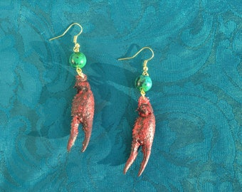 Red Crawfish Claw Earrings with Green Bead