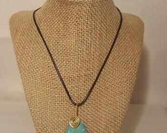 Handmade wire wrapped stone teardrop necklace