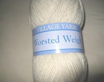 Village Yarn Worsted Weight Acrylic Yarn in Off White