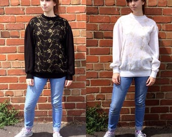 Vintage Super Soft Jumpers- White and Black with Gold Rose Detail