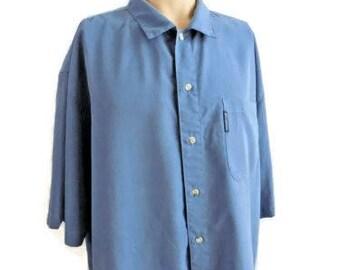 Columbia Blue Viscose & Polyester Short Sleeve Shirt Size XL