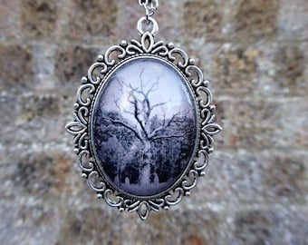 Handmade cameo necklace with original photography of tree