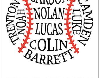 Custom SVG Baseball Team T-shirt Baseball Design