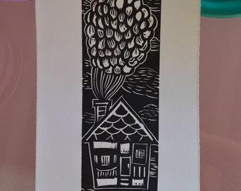 Up linocut print