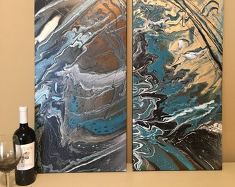 Two 15x30 Pour Paintings (acrylic pour)