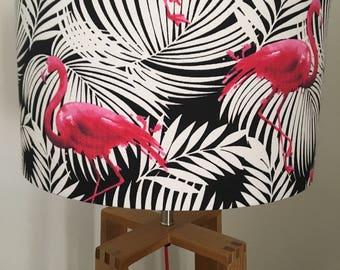 Tropical Flamingo Fabric Drum Lampshade - Black & White