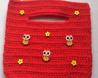 Little Red Owl Crochet Handbag
