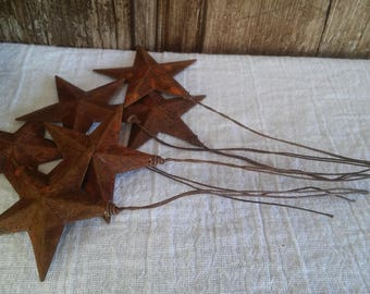 "6 Rusty Star Picks 1 1/2"" with Rusty Wire Primitive Country Rustic 1.5 inch Holiday Home Decor Decorative Wreath"