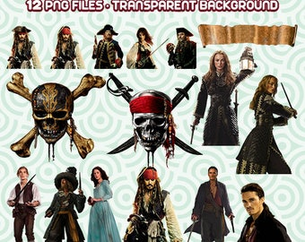 Pirates of the Caribbean Clipart, Pirates Clipart, Jack Sparrow Clipart, Disney Pirates, Disney Caribbean, Instant Download  99