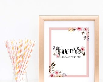 Baby Girl Shower Favors Sign Floral Baby Shower Signs Please Take One Printable Blush Flower Bridal Shower Favor Sign Wedding Favors PDF BF2
