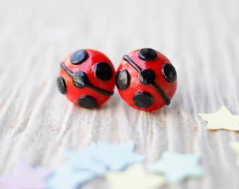 Miraculous Ladybug Earrings, Ladybug & Cat Noir, Stud Earrings, Marinette Dupain, Superhero Girl, Ladybug Jewelry, Gifts For Girls