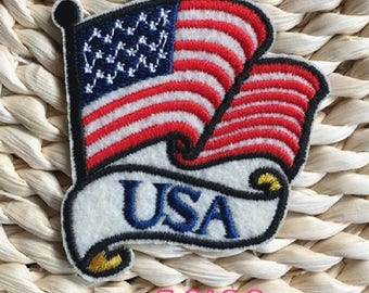USA Flag Embroidered Iron On Patch, sewing patch, US flag patch
