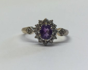 9ct Gold Amythyst and Diamond Ring With Diamonds In Shoulder