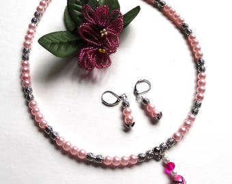 Pink set the tender Choker necklace and earrings - gift idea for woman