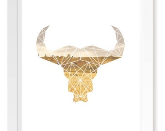 Prairie Buffalo Head Geometric Animal Print