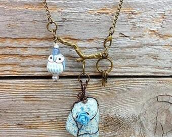 Owl Necklace- English Surf-Tumbled Pottery