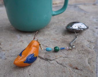Blue and Orange Bird Tea Infuser