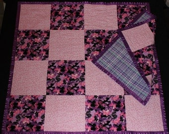 Pink Butterflies, Baby Quilt, Baby Blanket, Tag-along, Patchwork Quilt, Throw, Lovie, Butterflies, purple, pink