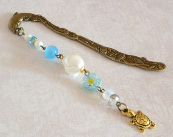 White blue Gold Turtle Bookmark marine style metal decorative bookmark elegant Boho woman bookmark jewelry turtle lover gifts for book lover