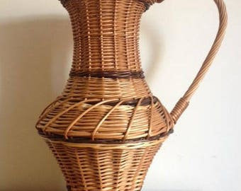 Authentic large French large wicker karafe - handmade