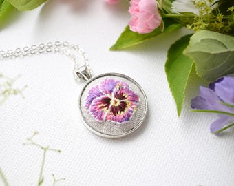 Hand Embroidered Flower Necklace, Pink and Purple Pansy Flower Pendant, Hand Embroidered Pendant, Violas and Pansies