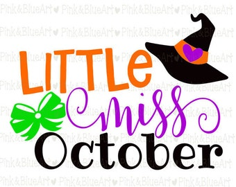 Little Miss October SVG Clipart Cut Files Silhouette Cameo Svg for Cricut and Vinyl File cutting Digital cuts file DXF Png Pdf Eps