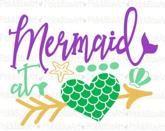 Mermaid at Heart SVG Clipart Cut Files Silhouette Cameo Svg for Cricut and Vinyl File cutting Digital cuts file DXF Png Pdf Eps