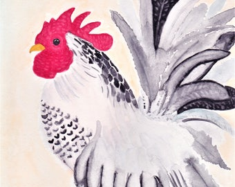 Classic Rooster Watercolor Painting