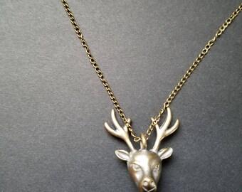 Bronze Deer Head Necklace