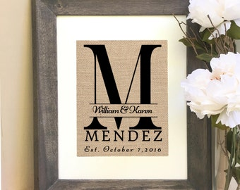 ON SALE Burlap Monogram Print Personalized Wedding Gift Last Name Print