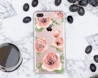 Rose iPhone 7 Plus Case 6 iPhone Clear Case iPhone 5s Case Floral iPhone 6s Case Roses iPhone SE Case Roses iPhone 6s Plus Case Clear cn028