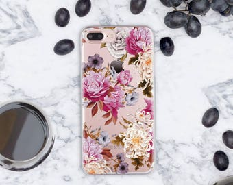 Roses iPhone 7 Case 6 Plus iPhone Clear Case iPhone 5s Case Floral iPhone 6s Case Roses iPhone SE Case Roses iPhone 6s Plus Case Clear cn029