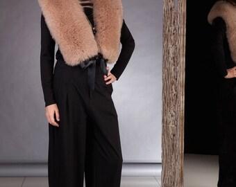 Crafted Huge Light Brown Fox Fur Shoulder Wrap / Stole / Collar