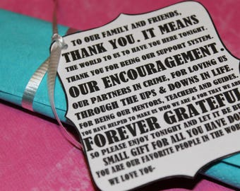 thank you TAGS wedding plate tags reception favor place setting labels
