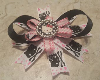 Hello Kitty Boutique Bow Black Skulls with Pink Hearts Pink and Black Ribbon Barrette