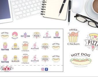 Game Night Planner Stickers, Menu Planning Stickers, Fast Food Sticker, Cute Kawaii Planner Accessories, Meal Planning Stickers