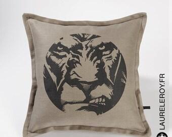 Pattern Lion, grey-beige linen Cushion cover
