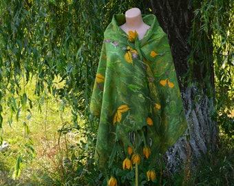 Women wool scarf merino felted scarf felted wraps elegant scarf evening shawl green felt scarf felted scarves and wraps natural wool felt