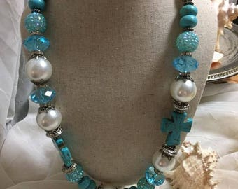 Large 26 inch hand crafted turquoise cross pearl beaded necklace