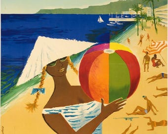 Beautiful vintage poster on the theme of the French Riviera.