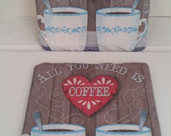 Set of 2 Decoupaged slate drink coasters - shabby chic/vintage coffee design