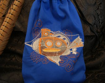 Embroidered bag with a steampunk-zeppelin-motif made of cotton