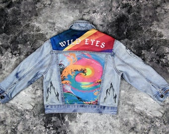 Kids Denim Customized Jean Jacket 4T | FREE INTERNATIONAL SHIPPING | Vintage Inspired Cosmic Children of The Universe