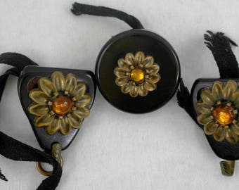 3Large Bakelite Buttons With Leather Back Attachment