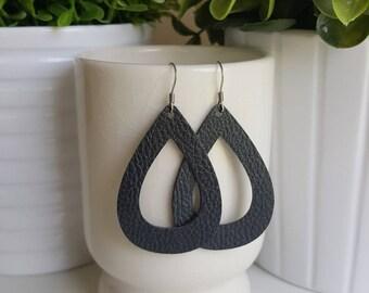 Black Vegan Leather Hoop Earrings | Faux Leather Earrings| Lightweight Earrings | Leather Hoop Earrings