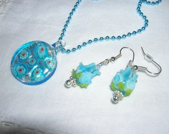 Lampwork turquois pendant and earring set