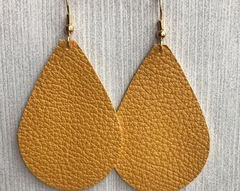 Mustard Yellow - Leather Teardrop Earrings
