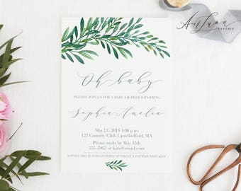 Botanical Baby Shower Invitation, Greenery Baby Shower Invitation, Botanical Watercolor Invitation, Gender Neutral Baby Shower, Oh Baby 018